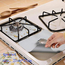 Protector Liner Cover For Cleaning Kitchen accessory silver 4Pcs Reusable Foil Gas Hob Range Stove Top Burner free shipping