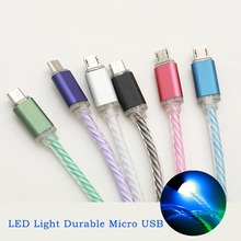 New 1M LED Light Durable Micro USB Cable Charging & Data Sync Mobile Phone Cables for Samsung xiaomi Huawei HTC DY-fly