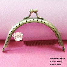 Free Shipping PA095 10pcs Blank Purse Frame Hanger 8.5cm Bronze Metal Clasps Purses Accessories Handles Handbags Diy Bag Parts