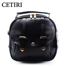 CETIRI Black Women Backpack Small PU Leather Women's Backpacks School Girls Bags Female Back Pack Famous Brand mochilas - Store store