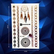1PC Brand New Gold Dreamcatcher Designs Flash Waterproof Tattoo Paste AMC-J3030 Sexy Women Body Art Round Henna Totem Tattoos