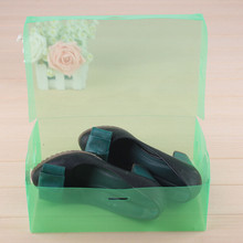 1PC DIY Folding Shoebox Clamshell Shoes Storage Boxes Transparent Boots Organize Colored Plastic Finishing Box(China)