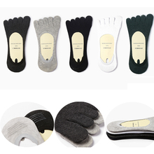 1 pair Fashion Cotton Men's Five Finger Socks Toe Socks Invisible Nonslip Ankle Breathable