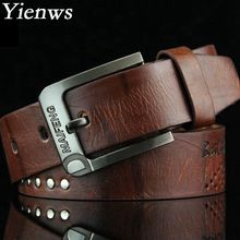 Yienws Strap Male Genuine Leather Kemer Fashion Men Belt Luxury Strap PU Cinto Western Cowboy B028