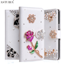 "Rhinestone Case For HTC Desire 626 Case 5.0"" 3D Glitter Wallet PU Leather Cover Coque For HTC 626W Cross Fundas Case(China)"