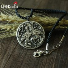 lanseis 10pcs CH-816-C celt symbol CRANE animal pendant necklace Double sided pendant(China)