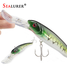 SEALURER 1Pcs  Big Float  Minnow Artificial Plastic Deep Diver Hard Lures  Fishing Lure Crankbait  with  2   Treble  Hooks