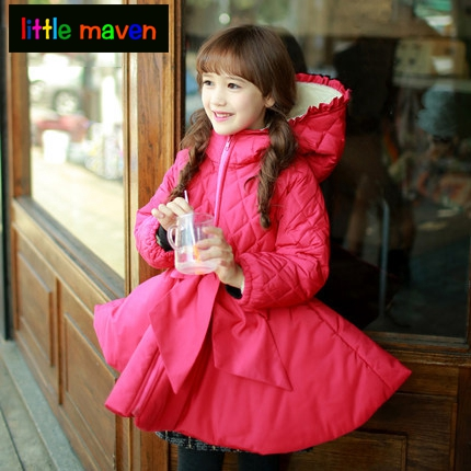 Girls Winter Fashion Outwear &amp; Coat  Big Bow and Puff Hem Childrens Parkas Hooded Winter Jackets Girl Baby Kids Clothes 4-14Y<br>