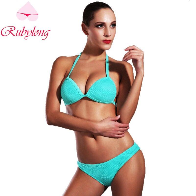 Rubylong Summer Sexy Solid Halter Bikinis Set Swimwear Women Sexy Push Up  Black Swimsuit Bikini Beachwear Bathing Suit<br><br>Aliexpress