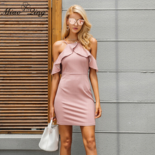 Buy MIAOQING Summer Sexy Dresses 2018 Slim Club Bodycon Dress Elegant Korean Ruffle Backless Dress Pink Halter Split Strapless Party