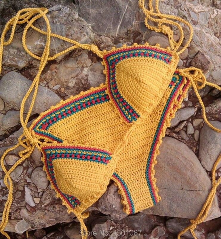 Women New Popular Swimsuit Sexy Bikini set Two-pieces Swimwear Bathing Suit Handmade Crochet Bikinis Lady Summer Beach Sportwear<br><br>Aliexpress
