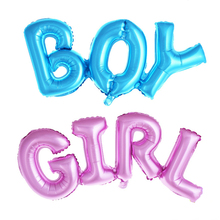 1pc Big Blue Letter BOY Ballon Alphabet GIRL Pink Foil Balloon Baby Shower Gender Reveal Birthday Party Ornament(China)