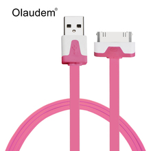 1m USB Sync Data Charging Charger Cable Flat Cord For Apple iPhone 4 4S iPad1 2 3 iPod Touch Noodle  USB Data Cable USBC-128
