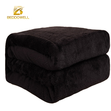 Beddowell Flannel Coral Fleece Blanket Solid Black Color Mink Throw Sofa Plaid Sheet Soft Faux Fur Blankets On The Bed