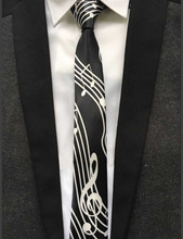 5cm Musical Tie Music Notes Necktie Black with White G-clef Gravata in Middle