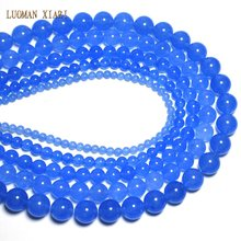 Wholesale Light Blue Chalcedony Natural White Stone Beads For Jewelry Making DIY Bracelet Necklace 4 /6 /8 / 10 /12 mm 15''