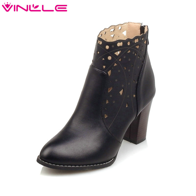 VINLLE 2016 Women Boots Elegant OL Gray Autumn Fashion Boots Cut Outs PU Women Boots High-Heel Wedding Ankle Boots Size 34-43<br>