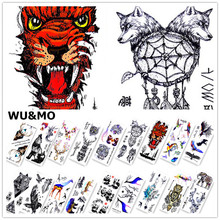 WM Cool Animals Fish Wolf Deer Body Art Sexy 190X90mm Waterproof Temporary Tattoo For Man Woman Henna Fake Flash Tattoo Stickers