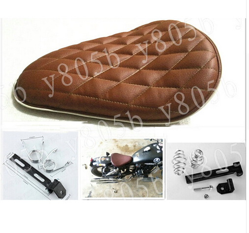 Brown Diamond Leather Solo Spring Motorcycle Seat+ Mounting For Kawasaki Vulcan Classic VN 400 VN500 VN800 VN 900 1200 1500 1600(China (Mainland))