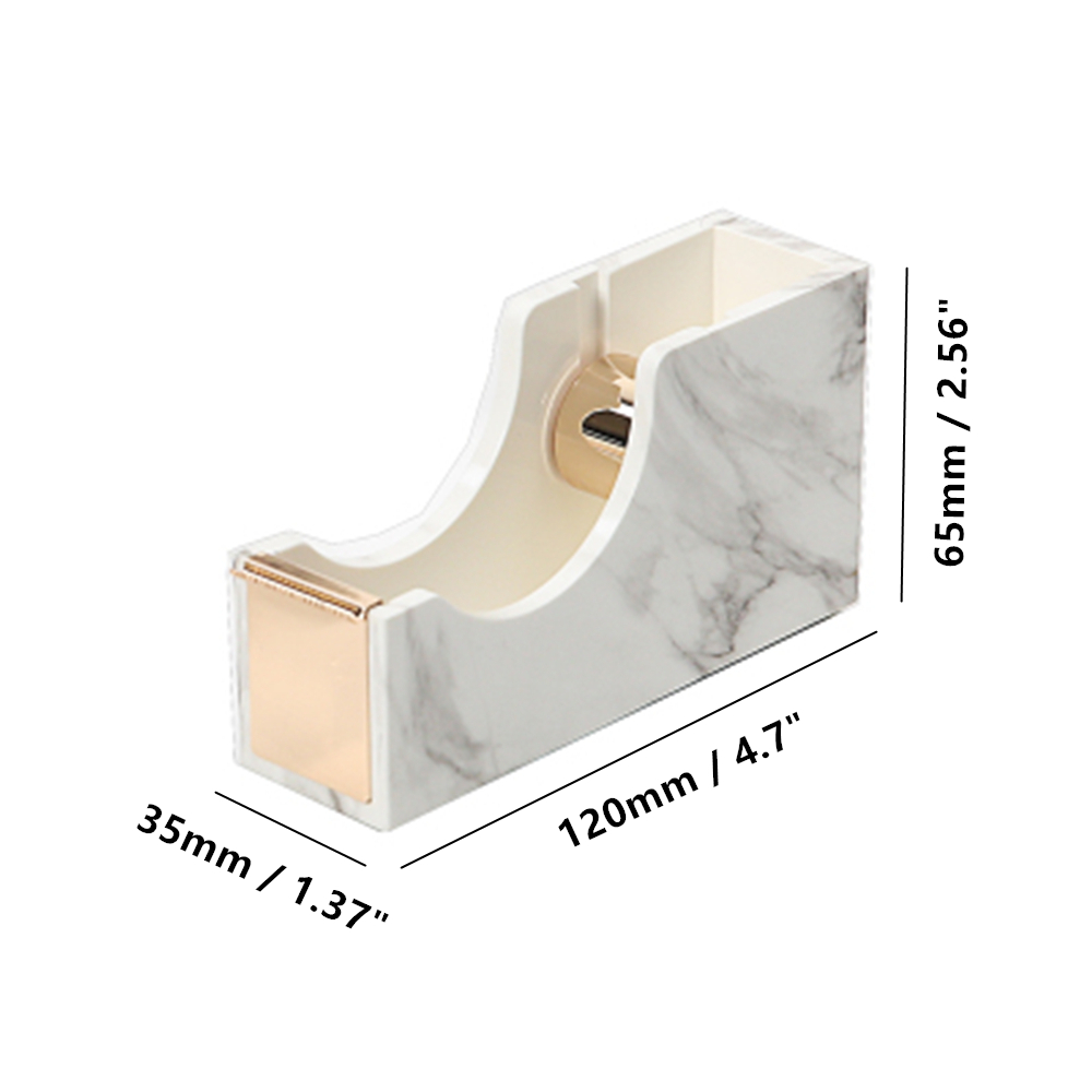 desktop tape dispenser gold metal core marble texture body office supplies size