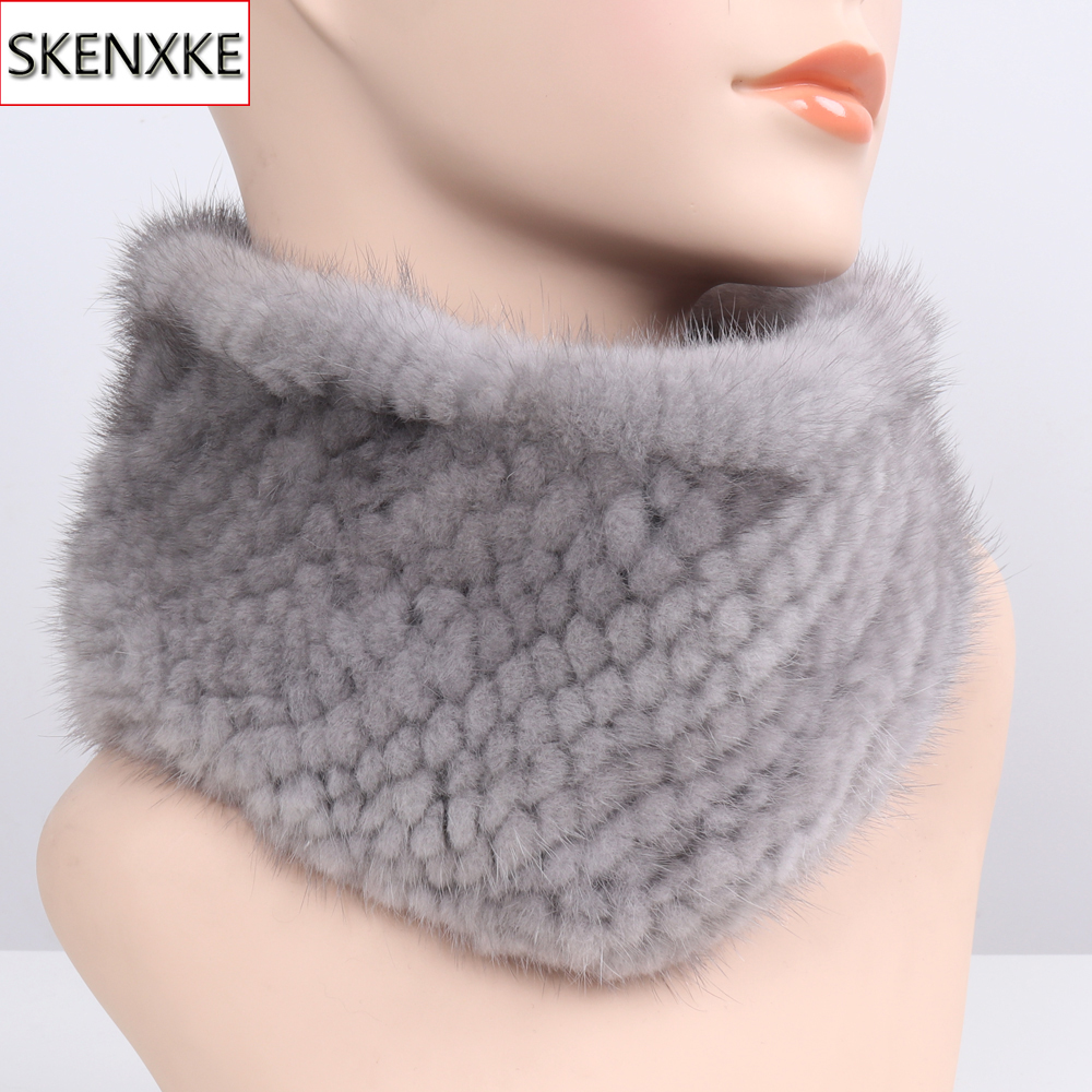 2019 New Women Winter Real Mink Fur Scarves headbands Good Elastic Knitted Natural Mink Fur Scarf Thick Warm Lady Fur Ring Shawl
