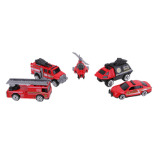 5Pcs/Lot 1:64 Scale Alloy Fire Truck Model Toy Cool Mini Fighting Fire Trucks Models Kids Child Car Toy Set for Baby Boy