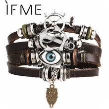 Buy IF ME Vintage Turkish Eye Leather Bracelets Men Multiple Layer Anchor Owl Bracelet Fashion Wristband Party Jewelry Gift NEW for $1.87 in AliExpress store