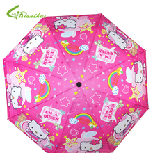 Lovely Cartoon Hello Kitty /Princess Printed Children Anime Umbrella for Kids Girl Cute Umbrella Baby Pink Children's day gift