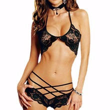 Hot sales Sexy Woman Lace Sleepwear Halter Underwear Lingerie G-string Black Red Hot Sale