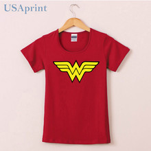 USAprint Summer 2017 Wonder Woman Logo T Shirts Women Comic Anime T-shirt Cotton Female Clothing Girl Camisetas O Neck Top Tee