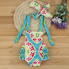 2017 Floral Baby Girl Clothes Summer Sleeveless Flower Romper Ruffles Halter Jumpsuit +Headband 2PCS Outfits Sunsuit