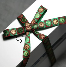Free shipping green garishly gilding gold stamp Christmas decoration knitting belt cookie box package ribbon gift packing