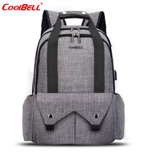 CoolBell Mother Bag Large Capacity Maternity Bag Nylon Baby Nappy Bag Handbag For Mom Include Changing Pad / Black / Grey