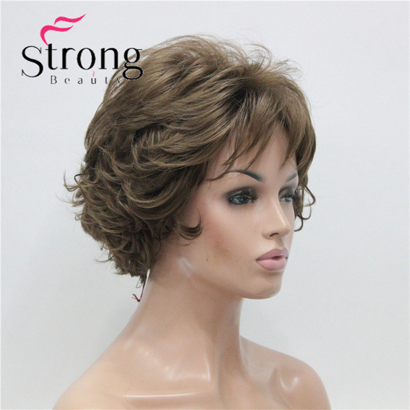 E-7125 #12New Wavy Curly Wig Light Reddish Brown Short Synthetic Hair Full Women's Wigs (4)