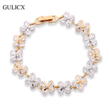 GULICX Brand Fashion Design Crystal CZ Zircon Hand Chain Bracelets for Women Yellow Gold Color Flower Bangle Jewelry L134