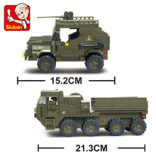 SLUBAN 455pcs 0307 Military Series APCs+Jeep+Motorcycles Army troops Building Blocks Educational Toys for kids christmas gifts