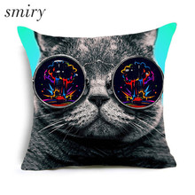 Cute Cat Printing Polyester Cushion Covers Animal Throw Pillow Case Living Room Couch Sofa Car Seat Decorative Kussenhoes Cojine