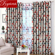 Geometric Triangle Printed Sheer Curtains Blackout Cloth Window Yarn Modern Living Room Bedroom Curtains Cloth Tulle T&211 #20