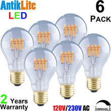 15/20 Watt Equal 1900 Replica Style Standard Medium Edison ScrewBase E26 A19 A60 4W Victorian Quad Loop LED Curved Filament Bulb(China)