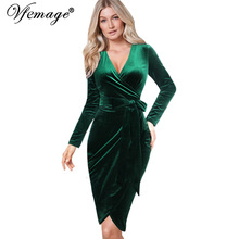 Vfemage Womens Autumn Winter Elegant Sexy V Neck Velvet Belted Long Sleeve Work Business Party Bodycon Sheath Wrap Dress 8440(China)