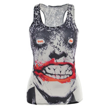 2015 Summer Ladies Punk Style 3D Painting Tops Fashion Sexy Devil Bone Camisole Print Pattern Vest Cropped Tops For Women(China)