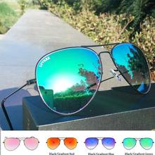 Top quality Glass Lens Gradient sunglasses women/men Pilot Aviator sunglasses Mirror 62MM uv400 Prevent rays blue 3026 3025(China)