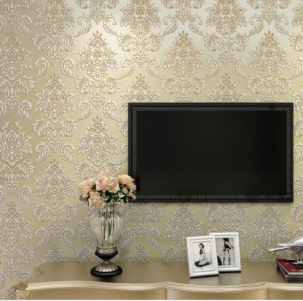Europe Non-woven Wallpaper 3d Stripe Thick Embossed Wall Paper TV Background Wall Decor Blue Beige Pink Texture Wallpapers<br>