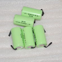 5PCS  SC 1.2V rechargeable battery 2200mah ni-mh nimh Sub C cell with welding pins tab for vacuum cleaner electric drill