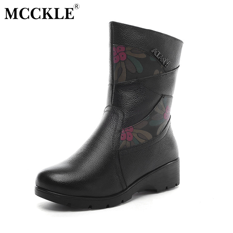 MCCKLE 2017 Womens Genuine Leather Winter Warm Plush Zip Ankle Boots Female Fashion Cotton Suede Slip On Platform Shoes<br>
