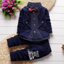 BibiCola Infant Formal uniform suit 2017 Baby Boys Wedding Clothing Sets Newborn children Bow tie jacket + pants toddler clothes(China)