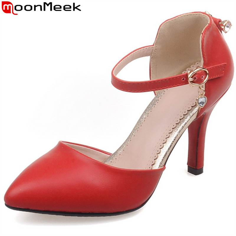 MoonMeek new fashion pointed toe pumps women shoes high heels with buckle thin heel wedding party red white shoes woman shoes<br>