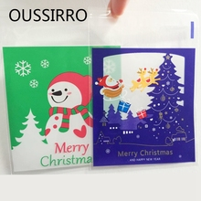 40PCS/Lot Mini Christmas Snowman Food Packaging Bags Cookies Candy Self-adhesive Biscuits Plastic Gift Bags Xmas Party Favor