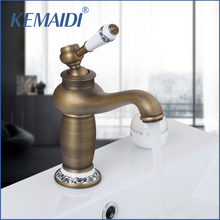 KEMAIDI RU Free Shipping Antique Bronze Bathroom Faucet Deck Mounted Hot And Cold Faucet Washbasin Mixer Sink Faucet Mixer Tap(China)