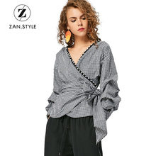 ZAN.STYLE Autumn Women Plaid Faux Pearl Blouse V Neck Puff Sleeve Bow Knot Blouses Shirts Fashion Streetwear Cotton Women Tops(China)